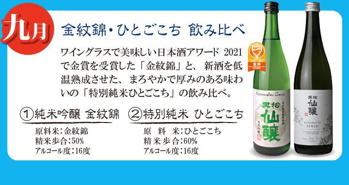 9月・金紋錦・ひとごこち飲み比べ・純米吟醸・特別吟醸